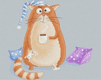 Cross stitch pattern - Sleepy cat