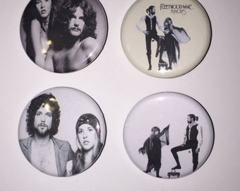 Set of 4 Fleetwood Mac Buttons - Stevie Nicks - Dreams - Rumours - Tusk - Tango In The night - Rhiannon