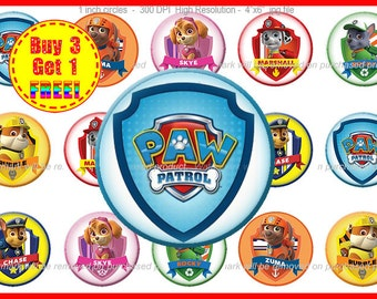 Paw Patrol Bottle Cap Images - Paw Patrol Images - Instant Download - High Resolution Images - Buy 3, Get 1 FREE