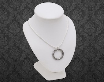 Swarovski Crystal silver channel set ring pendant on silver snake chain
