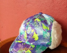 Rare vintage ellesse Winter hat/cap, multicolored, over print, big logo, p wing, hip Hop styles