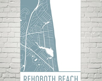 Rehoboth Beach Map, Rehoboth Art, Rehoboth Print, Rehoboth Beach DE Poster, Rehoboth Beach Wall Art, Map of Rehoboth, Rehoboth Map Art Gift