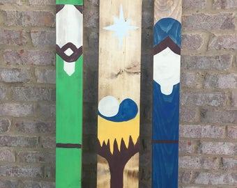 Wood Nativity Set, Nativity Set,  Wood Sign, Rustic Christmas , Custom, Handmade