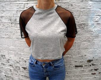 Grey Crop Mesh Arm Raglan T-Shirt