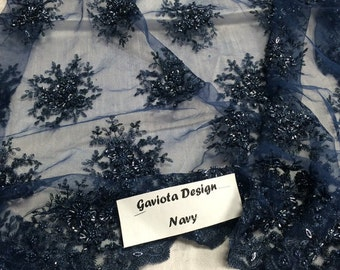 Super bridal wedding heavy beaded small flower mesh lace navy. Sold by the yard.