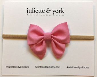 Pink Mini Sailor Bow {Nylon Headband or Alligator Clip} baby bows, baby bow headband, bow clips, nylon headband