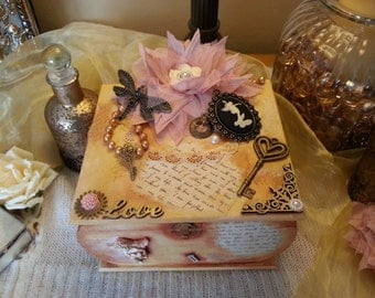 Love letter box, keepsake box, romantic wooden chest, chic, trinket box, jewellery box, steampunk, cabochon, memory box, gift box
