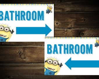 Minion Party Bathroom Signs. Minion Party decorations. (Not a licensed product)