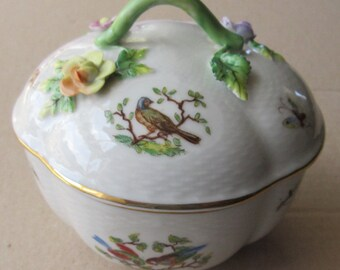 Dresden Porcelain Circa 1901 Vintage Germany Covered Dresser Jar Insects Butterflies Birds