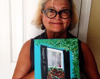 Outsider art folk art painting of Charleston SC window box flowers