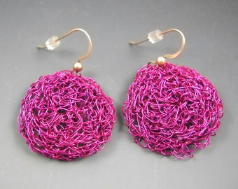 Maroon Pink Crocheted Wire Earrings on Sterling Silver Ear Wires KHE1523