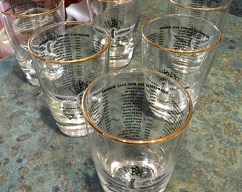 Qty of 6 Indianapolis 500 Libbey Drinking Glasses Gold Trimmed 1911-1972 Driver Winners