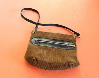 brown corduroy shoulder bag . vintage corduroy purse . boho errand bag . 60s 70s purse