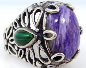 Carolyn Pollack Sterling Silver Malachite & Purple Banded Agate Ring
