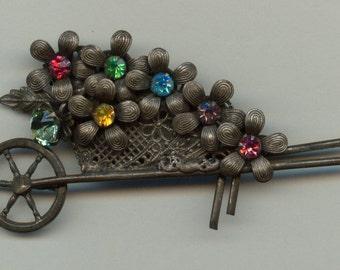 1940's Colorful Wheelbarrow Brooch