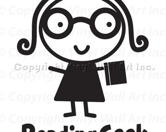 Reading Geek Vinyl Car Decal - Car Decal, Laptop Sticker, Window Decal, Personalized Decal,
