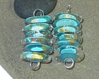 BHG  Gold dust and aqua discs--set of six