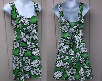 Vintage Green Hawaiian Floral Mini Dress with Lace Up Back / Size Sml - Med