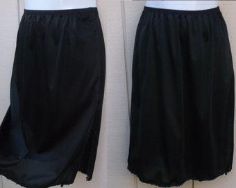 Vintage 70s Black Nylon Mini skirt Half Slip // sz sml - med