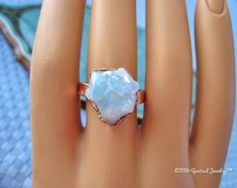 Small Aura Quartz Ring | Aqua Aura | Crystal Electroformed Ring | Aura Crystal | Size 8.5 | Raw Crystal | Copper Ring | Boho | Gift For Her