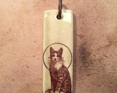 Porcelain Ephemera Pendant with Vintage Image of Feline Halo
