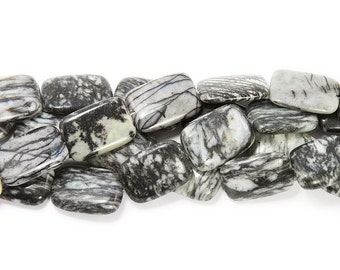 Black Webb Jasper Puffed Rectangle Gemstone Beads