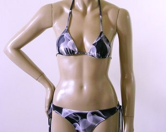 Brazilian Tie Bikini Bottom with Triangle Top in Black, White, and Gray Blackwater Print in Top Sizes to DD