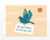 Dove Pigeon Delivery Happy New Year Card, Birthday, Congratulations Card - Best Year Yet