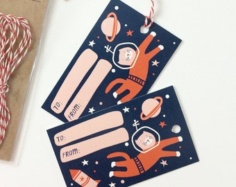 Space Cat Gift Tags - Astronaut Cat Birthday Gift Tags - Pack of 10 with Twine, Gift Tag Set, Cute Cat Gift Tags, Funny Cat Gift, Cute Gift