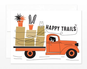 Moving, Bon Voyage Card - Happy Trails Truck
