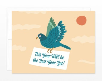 Dove Pigeon Happy New Year Greeting Card, Birthday Card, Anniversary Card, Congratulations Card - Best Year Yet