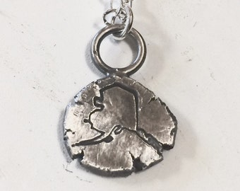 Stamped Recycled Silver Alaska Necklace