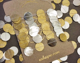 Original Gold and Silver Garland, String of Circles, Paper Garland Holiday