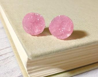 Light Pink Druzy Studs, Pastel Pink Studs, Pink Stud Earrings, Pink Drusy Studs, Druzy Jewelry, Surgical Steel Studs, KreatedByKelly (SE5)
