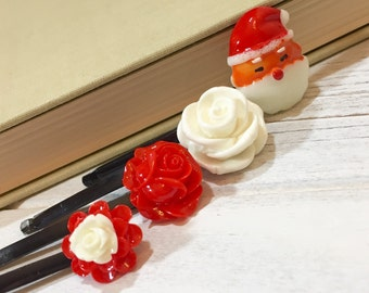 Christmas Hair Accessories, Bobby Pins in Red and White, Santa Claus, Red Rose, White Rose, Holiday Hair Pins, KreatedbyKelly