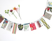 Mini Bunting - Vintage Fabric Flowers