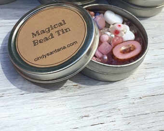 Glass beads, tin of beads, glass beads and more in a magical bead tin, pink n pastels, 2.5 inch aluminum tin 2 ounces