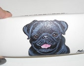Black Pug Dog  Hand Painted Eyeglass Case vegan