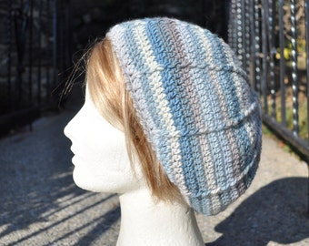 Crocheted Slouchy Beret - Crocheted Wool Hat - Women's Hat - Blue and Gray Hat - Winter Accessories