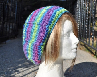 Crocheted Slouchy Beret - Crocheted Wool Hat - Women's Hat - Neon Stripes Hat - Winter Accessories - Green, Blue and Purple Hat