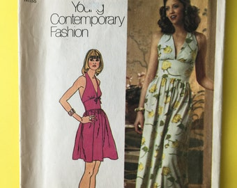 70s Vintage Halter Dress Simplicity 5672 Sewing Pattern Mini & Maxi Lengths Authentic 1970s Fashion Sewing Bust 34