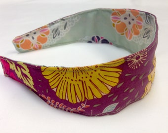 Reversible Fabric Covered Headband- Mint Green Floral and Plum Wildflower