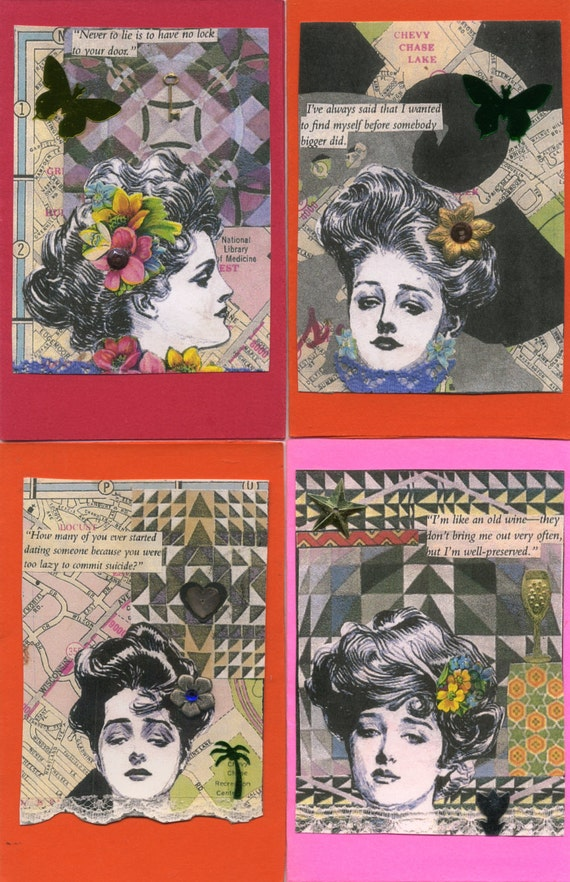 Four Gibson Girl greeting cards with embellishments and witty quotes,fun cards for someone with a sense of humor, greeting cards, vintage.