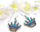 Blue Crown Earrings - Princess for a Day - Crown Jewelry - Light Blue Earrings