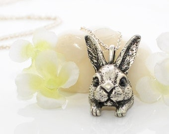 Bunny Pendant Rabbit Jewelry Necklace Odie - Bunny Necklace - Rabbit Jewelry - Bunny Rabbit Pendant - Woodland Animal - Pet Rabbit - Nature