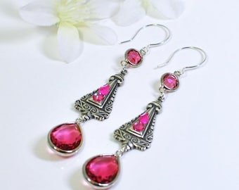 Pinkangles Earrings - Romantic Pink Crystal Swirl Earrings - Fuchsia Pink Earrings - Victorian Style Earrings - Pink Crystal Drop Earrings