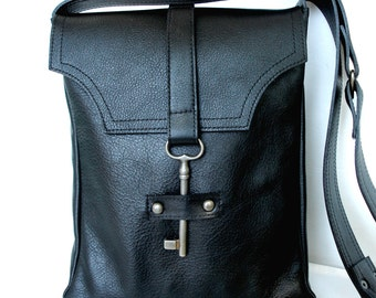 Black Leather Messenger with Antique Skeleton Key Steampunk Messenger Black Leather Cross Body MADE TO ORDER
