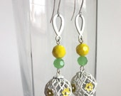 Handmade Yellow Flower Earrings with Vintage White Lattice Globes and Faceted Beads of Soft Yellow and Celadon Green, White Teardrops - Long