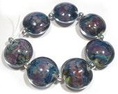 Bright Earth handmade Glass Lampwork Beads, Lentil Beads, Handmade Lampwork beads
