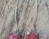 Pink Rhodocrosite Earrings natural Raw stone Earwires